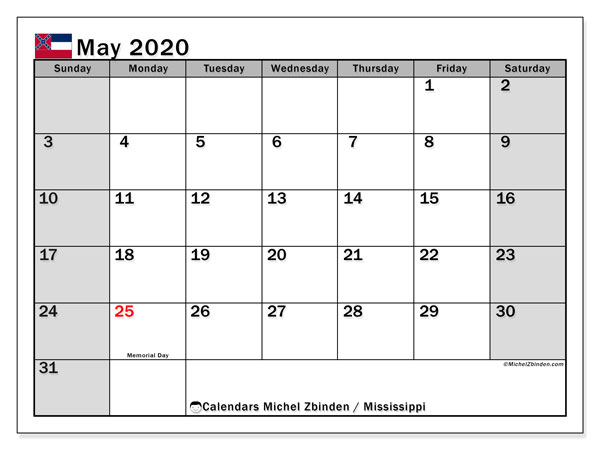 Calendar May 2020 - Mississippi. Public Holidays. Monthly Calendar and free schedule to print.