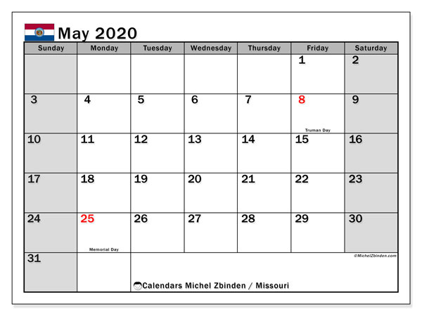 Calendar May 2020 - Missouri. Public Holidays. Monthly Calendar and free planner to print.