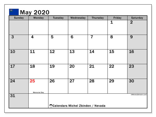 "Printable ""Nevada"" calendar with public holidays. Monthly May 2020 calendar and planner to print free."