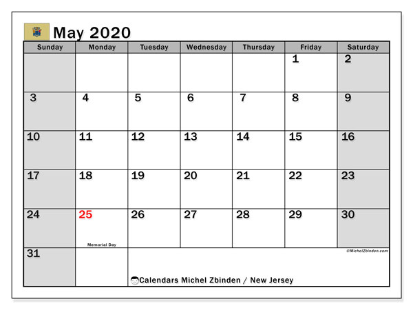 May 2020 Calendar, with the holidays of New Jersey. Free printable calendar with public holidays.