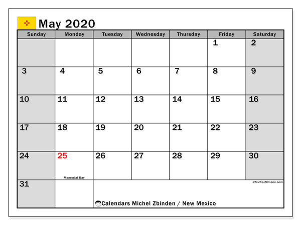 "Printable ""New Mexico"" calendar with public holidays. Monthly May 2020 calendar and bullet journal to print free."
