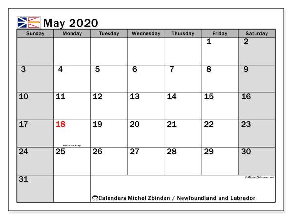May 2020 Calendar, with the holidays of Newfoundland and Labrador. Free printable calendar with public holidays.