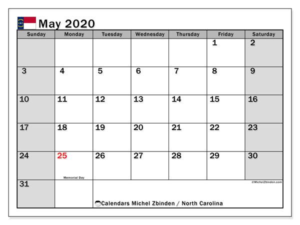 May 2020 Calendar, with the holidays of North Carolina. Holidays calendar to print free.