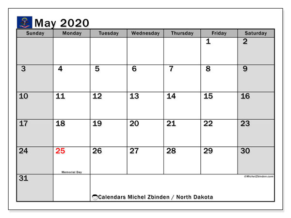 May 2020 Calendar, with the holidays of North Dakota. Free printable calendar with public holidays.