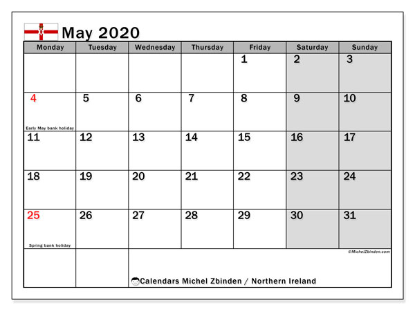 May 2020 Calendar, with the holidays of Northern Ireland. Holidays calendar to print free.