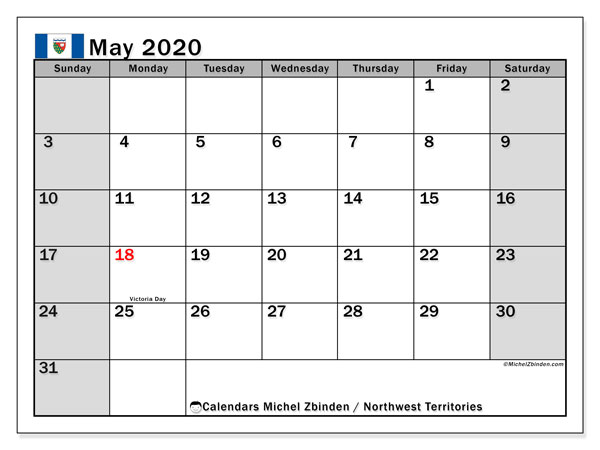 Calendar May 2020 - Northwest Territories. Public Holidays. Monthly Calendar and planner to print free.