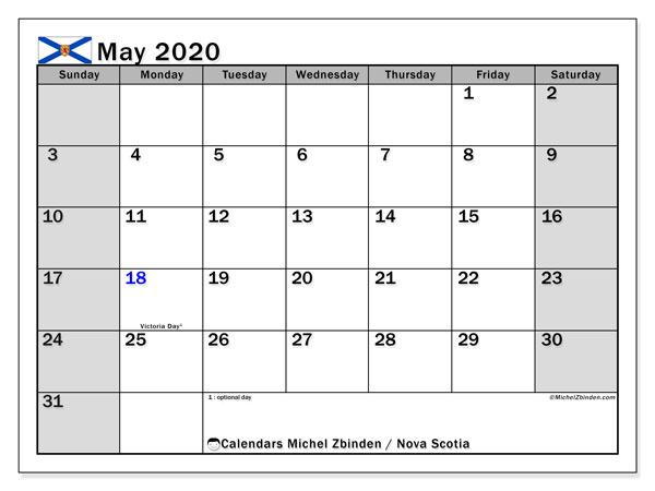 May 2020 Calendar, with the holidays of Nova Scotia. Holidays calendar to print free.