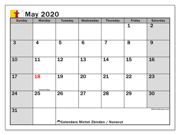 Calendar May 2020 - Nunavut. Public Holidays. Monthly Calendar and free printable timetable.