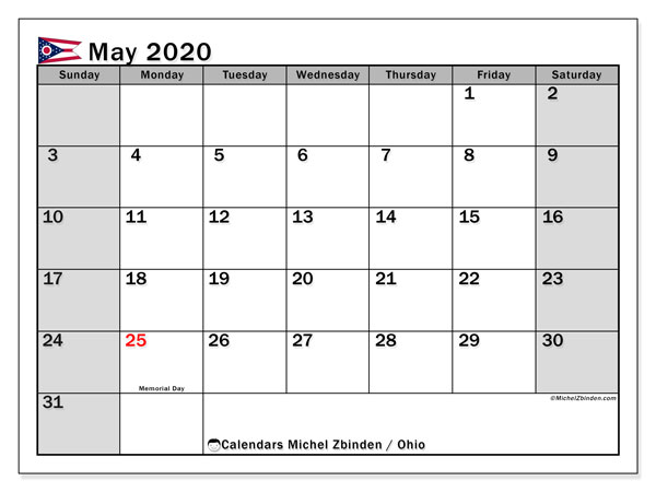 "Printable ""Ohio"" calendar with public holidays. Monthly May 2020 calendar and free schedule to print."