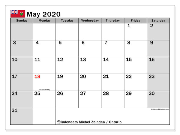 May 2020 Calendar, with the holidays of Ontario. Free printable calendar with public holidays.