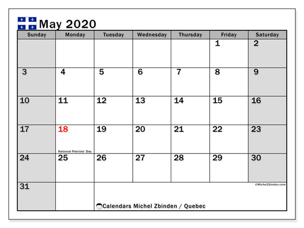 Calendar May 2020 - Quebec. Public Holidays. Monthly Calendar and free printable schedule.