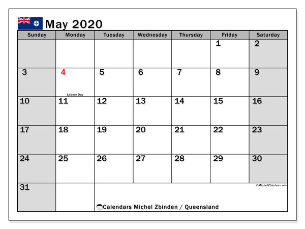 May 2020 Calendar, with the holidays of Queensland. Holidays calendar to print free.