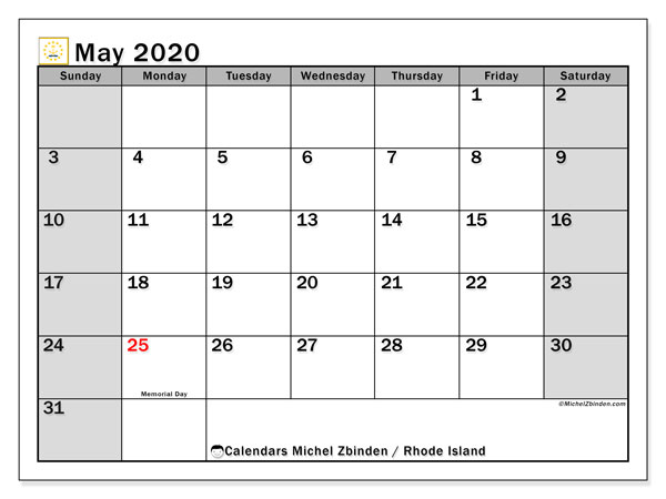 May 2020 Calendar, with the holidays of Rhode Island. Free printable calendar with public holidays.