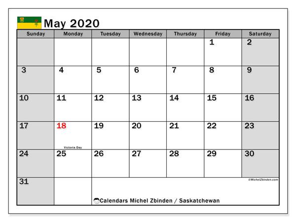 May 2020 Calendar, with the holidays of Saskatchewan. Free printable calendar with public holidays.