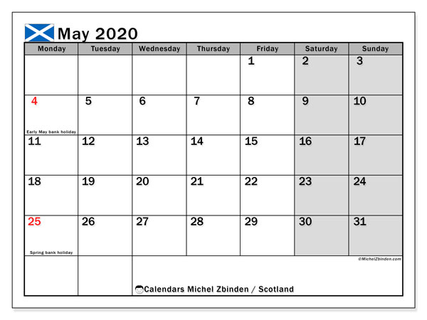 Calendar May 2020, with the holidays of Scotland. Monthly calendar to print free.
