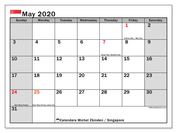 May 2020 Calendar, with the holidays of Singapore. Free printable calendar with public holidays.