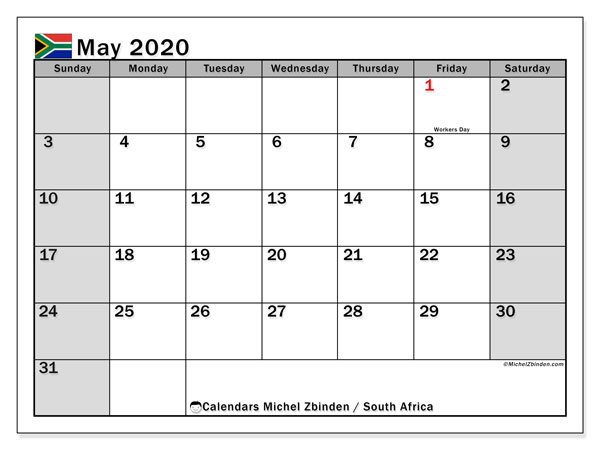 May Printable Calendar 2020.May 2020 Calendar South Africa Michel Zbinden En