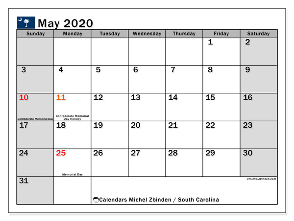 May 2020 Calendar, with the holidays of South Carolina. Holidays calendar to print free.