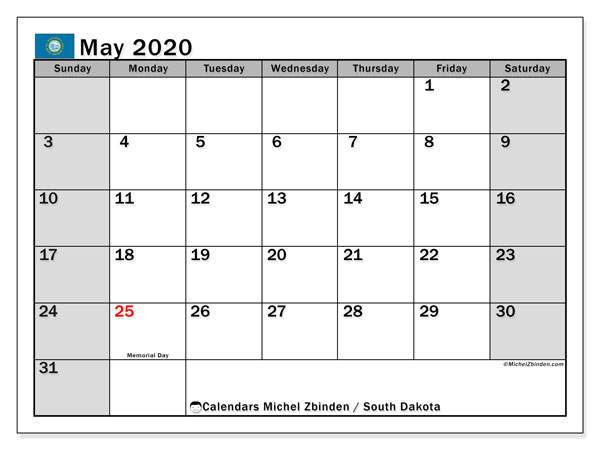 "Printable ""South Dakota"" calendar with public holidays. Monthly May 2020 calendar and timetable to print free."