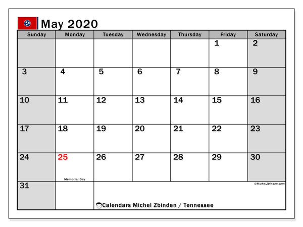 Calendar May 2020 - Tennessee. Public Holidays. Monthly Calendar and free timetable to print.