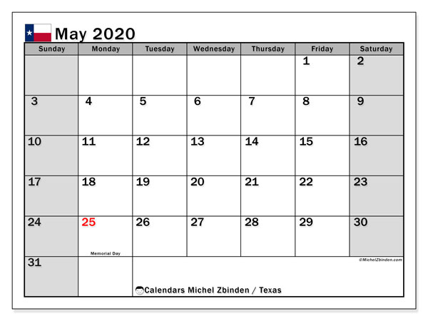 May 2020 Calendar, with the holidays of Texas. Free printable calendar with public holidays.