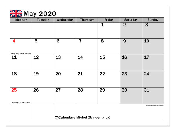 May 2020 Calendar, with the holidays of UK. Free printable calendar with public holidays.