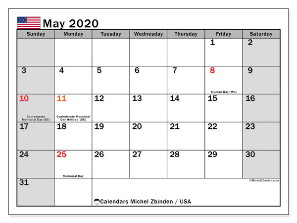 May 2020 Calendar, with the holidays of the USA. Free printable calendar with public holidays.