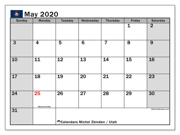 Calendar May 2020 - Utah. Public Holidays. Monthly Calendar and timetable to print free.