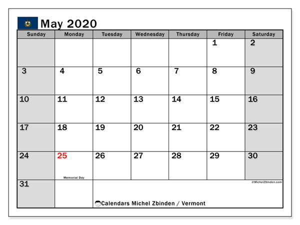 Calendar May 2020 - Vermont. Public Holidays. Monthly Calendar and planner to print free.