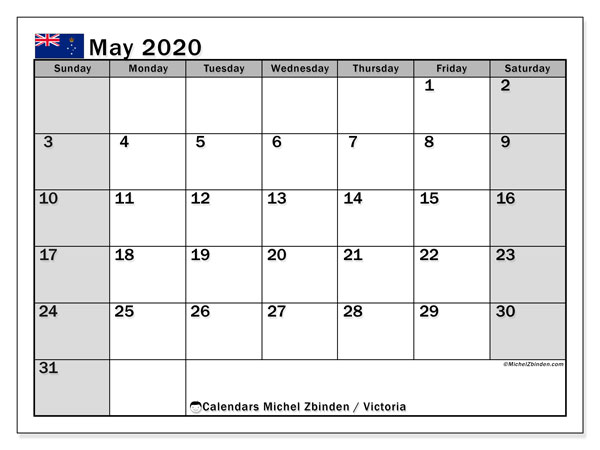 May 2020 Calendar, with the holidays of Victoria. Free printable calendar with public holidays.