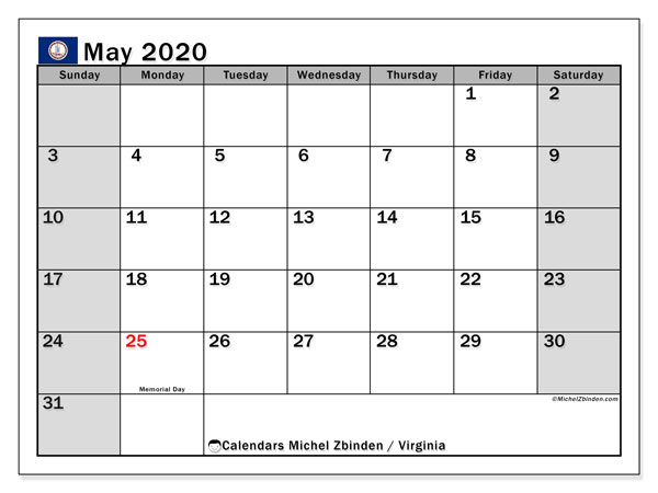 May 2020 Calendar, with the holidays of Virginia. Free printable calendar with public holidays.