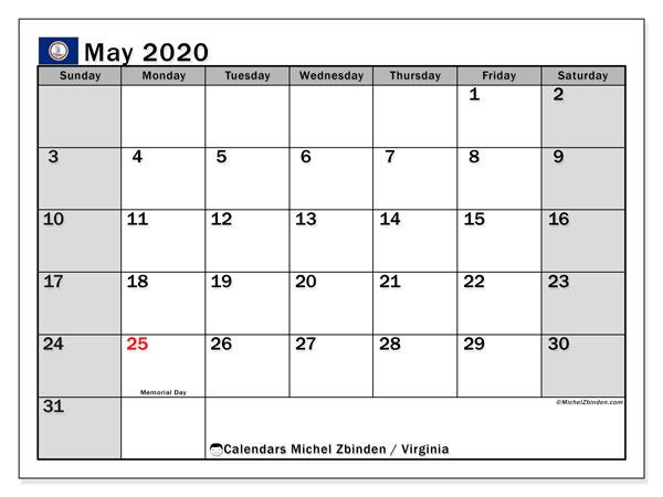 May 2020 Calendar, with the holidays of Virginia. Holidays calendar to print free.