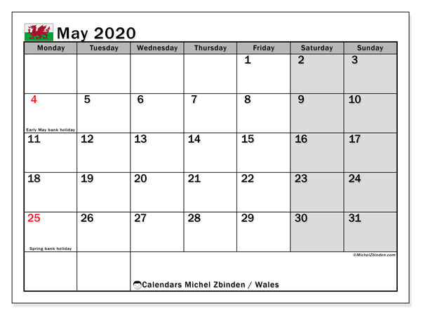 May 2020 Calendar, with the holidays of Wales. Holidays calendar to print free.