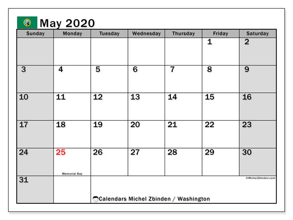 May 2020 Calendar, with the holidays of Washington. Free printable calendar with public holidays.