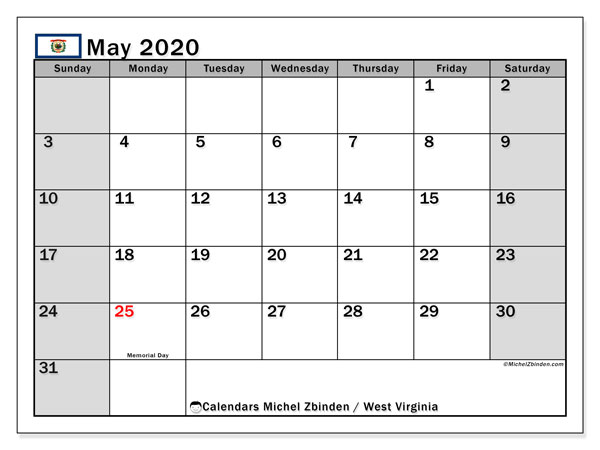 Calendar May 2020 - West Virginia. Public Holidays. Monthly Calendar and agenda to print free.