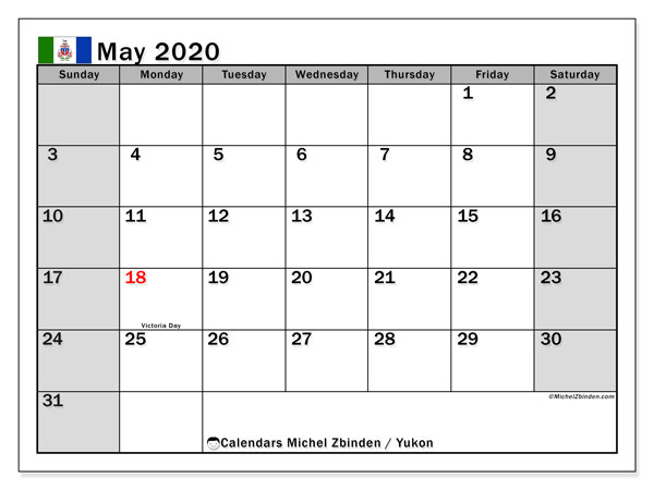 May 2020 Calendar, with the holidays of Yukon. Free printable calendar with public holidays.