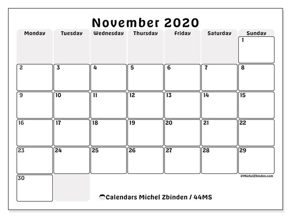 November 2020 Calendar, 44MS. Bullet journal to print free.