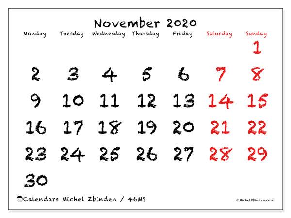 November 2020 Calendar, 46MS. Free bullet journal to print.