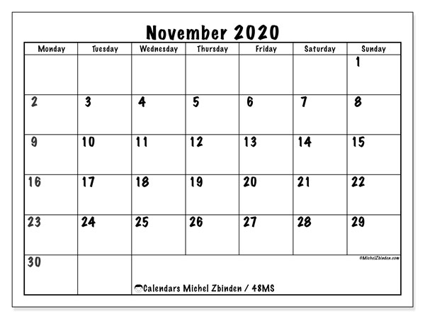 "Calendar ""48MS"", November 2020, ready to print."