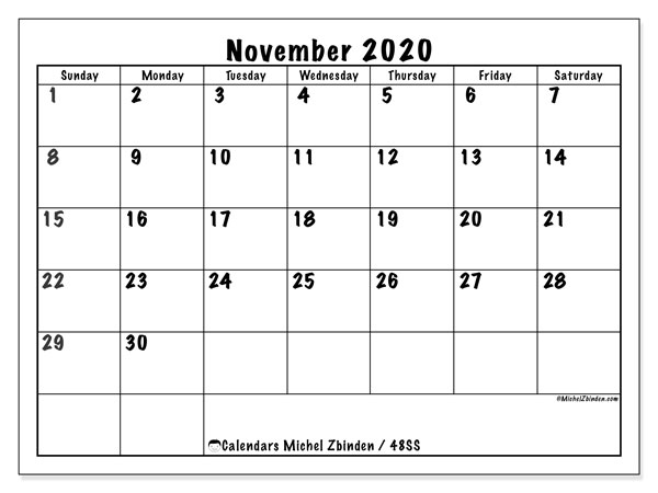 "Printable November 2020 calendar. Monthly calendar ""48SS"" and bullet journal to print free"