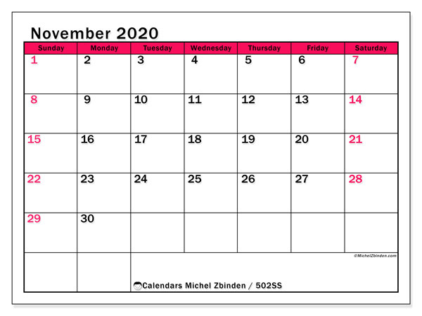 "Printable November 2020 calendar. Monthly calendar ""502SS"" and free printable schedule"