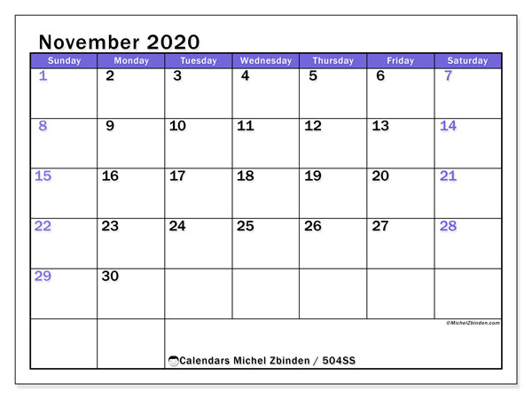 "Printable November 2020 calendar. Monthly calendar ""504SS"" and free timetable to print"