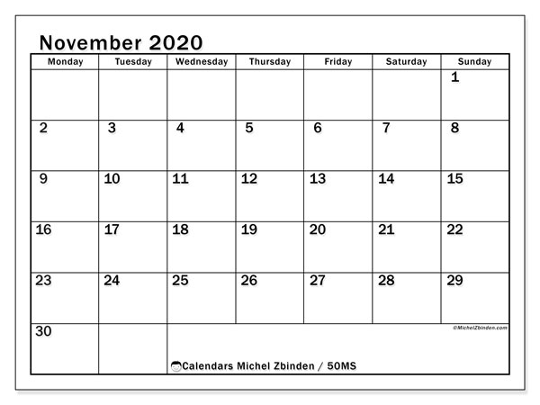 Calendar November 2020 - 50MS. Classic. Monthly Calendar and schedule to print free.
