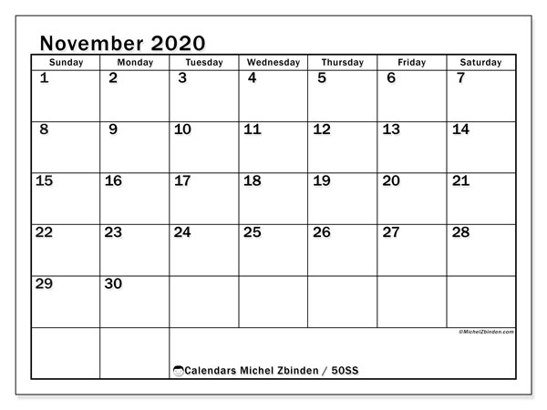 Printable calendars, November 2020, Sunday - Saturday