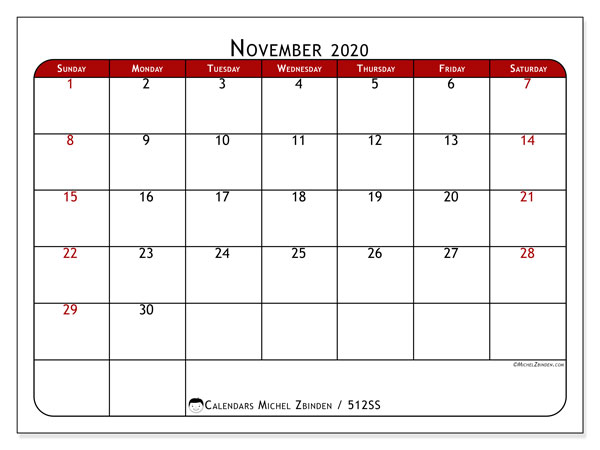 "Printable November 2020 calendar. Monthly calendar ""512SS"" and free planner to print"