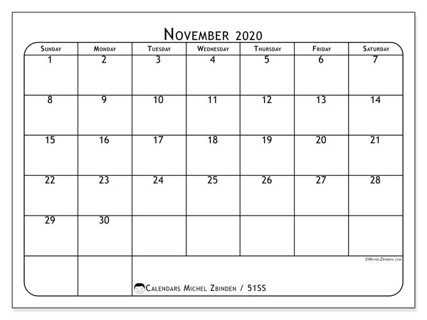 November 2020 Calendar, 51SS. Monthly calendar to print free.