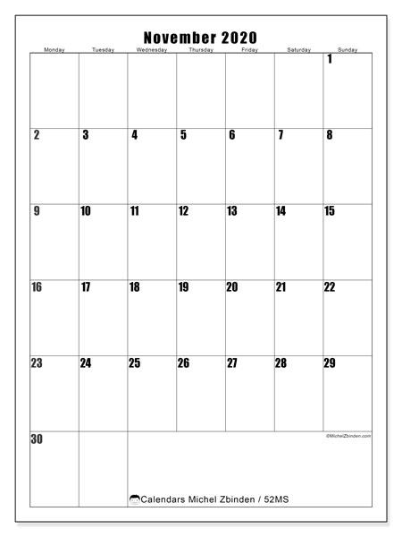 November 2020 Calendar, 52MS. Free printable calendar.