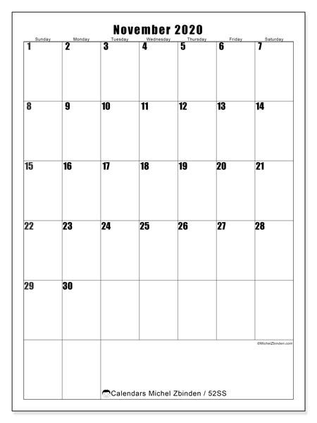 November 2020 Calendar, 52SS. Bullet journal to print free.