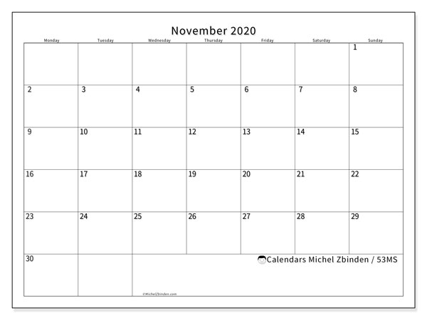 "Printable November 2020 calendar. Monthly calendar ""53MS"" and schedule to print free"