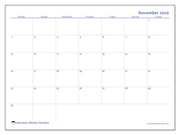 November 2020 Calendar, 55MS. Free calendar to print.